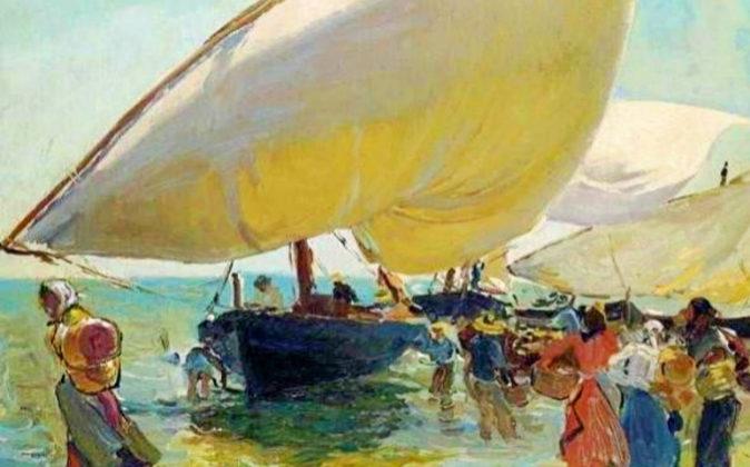 J. Sorolla: 'Llegada de las barcas' (1889).