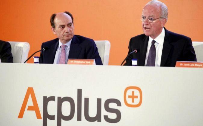 Junta de accionistas de Applus. A la izquierda el CEO Fernando Basabe...