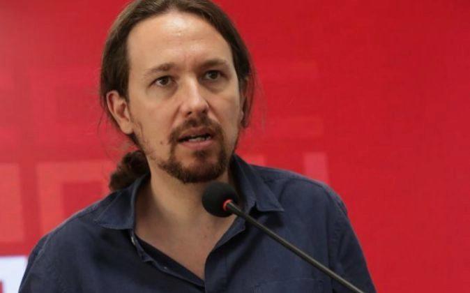 El secretario general de Podemos, Pablo Iglesias, durante una rueda de...