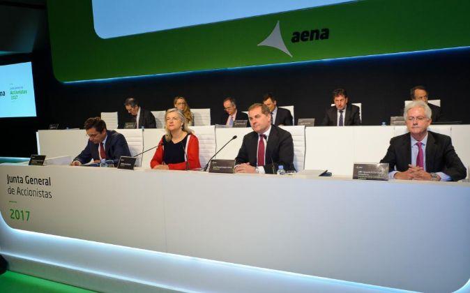 Imagen de la última junta de accionistas de Aena, presidida por José...