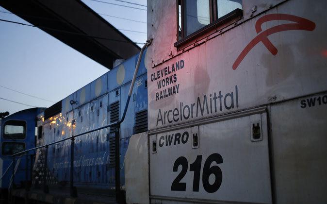 Vagón de tren con el logo de la acerera en Cleveland, EEUU.