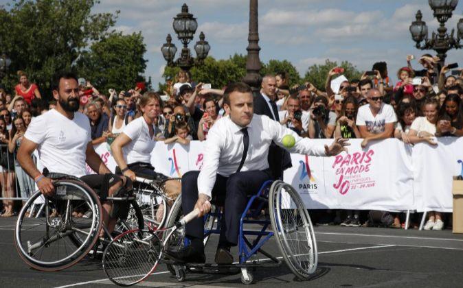 El presidente frances, Emmanuel Macron, en un acto de apoyo a la...