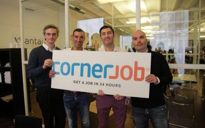 El equipo fundador de CornerJob, Mauro Maltagliati, Miguel Vicente,...