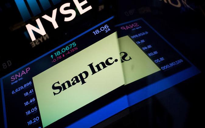 Logo de Snap en las pantallas de la Bolsa de Nueva York.