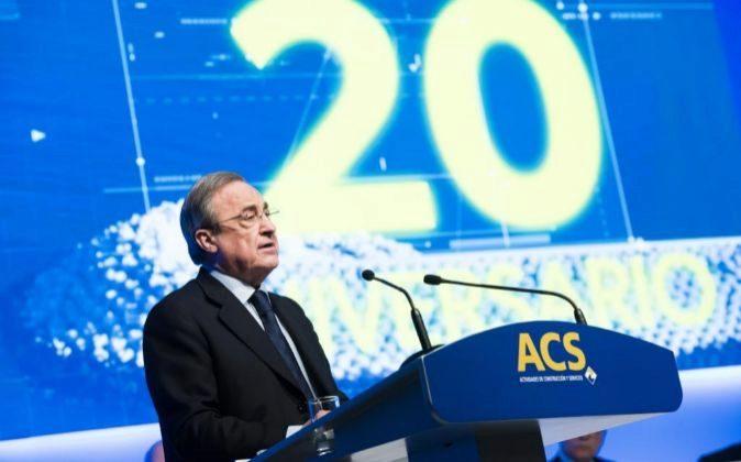 Florentino Pérez durante la junta de accionistas de 2017 de ACS.