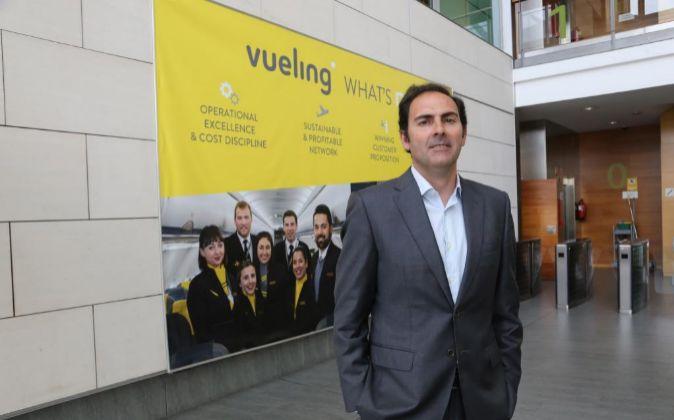 Sánchez-Prieto, acompañado de Luis Gallego (Iberia) y Willie Walsh...