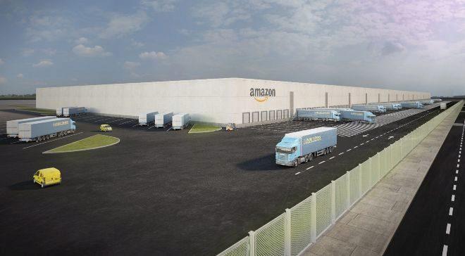 Simulación del centro logístico que Amazon abrirá en Illescas...