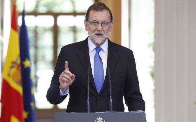 Rueda de prensa del presidente del Gobierno, Mariano Rajoy tras el...