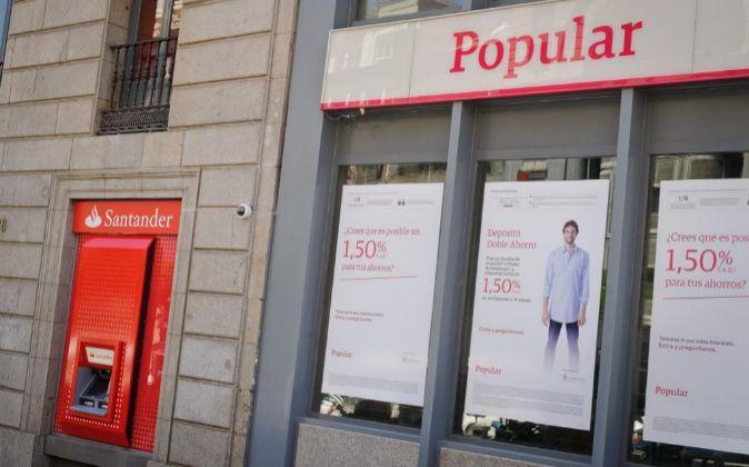 Sucursales de Santander y Popular en Madrid.