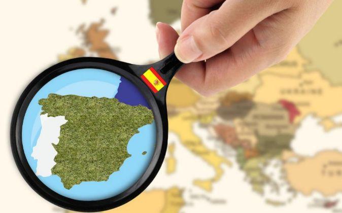 Mapa de España visto por una lupa