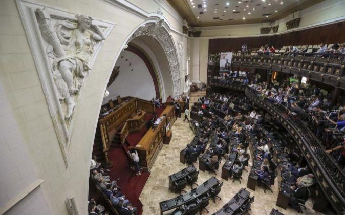 Salón de sesiones de la Asamblea Nacional Constituyente durante una...