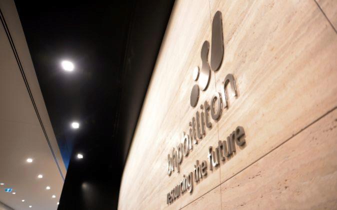 Logo de BHP Billiton en la sede de la empresa en Melbourne, Australia.
