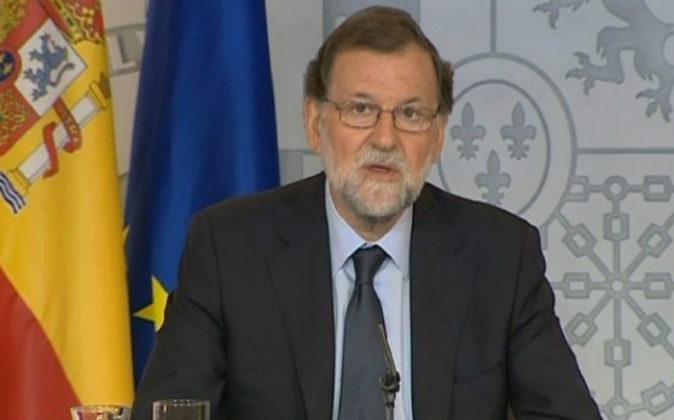 Rajoy, hoy en Moncloa durante su comparecencia tras el Consejo de...
