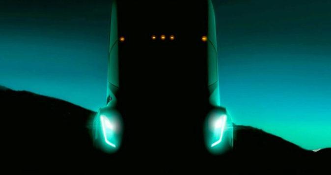 Teaser del primer camión que lanzará Tesla el próximo mes