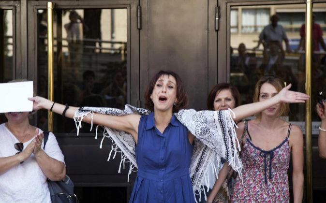 Juana Rivas a su salida de los juzgados de Granada en donde se...