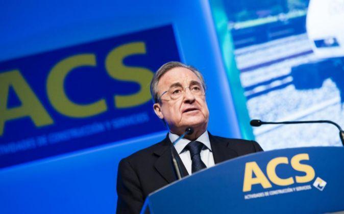 Florentino Pérez durante la junta general de accionistas de ACS.