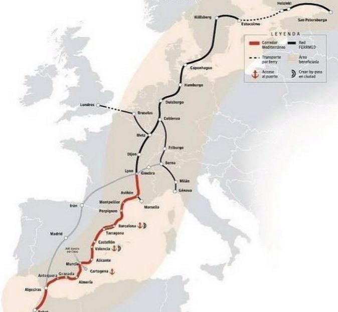 Mapa geográfico con el trazado del Corredor Mediterráneo y la Red...