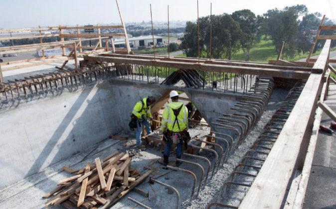 Obras de construcción del AVE en California, EEUU.