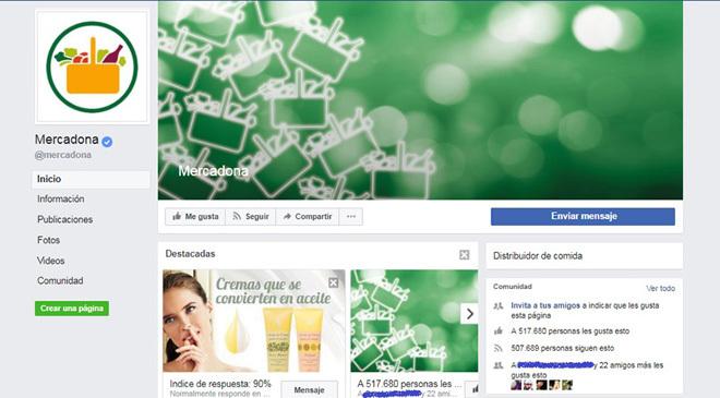 La página oficial de Mercadona en Facebook (arriba) tiene más de...