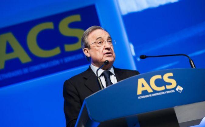Florentino Pérez durante la pasada junta de accionistas de ACS.