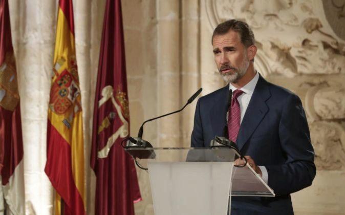 El Rey Felipe VI, durante su discurso en la ceremonia de entrega de...