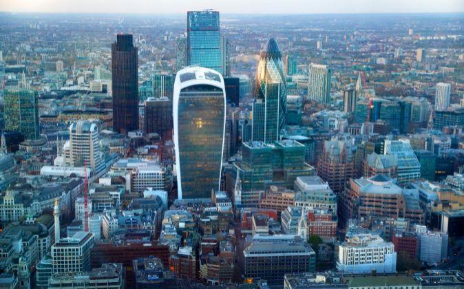 Vista área de la City londinense.