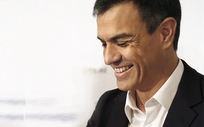 El secretario general del PSOE, Pedro Sánchez, momentos antes de que...