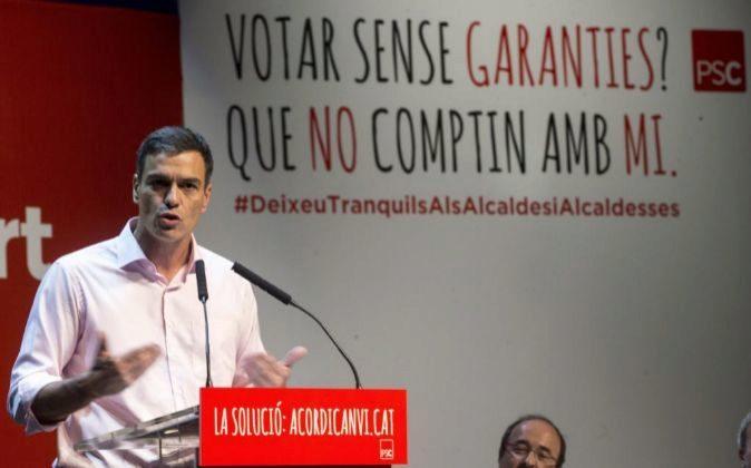 El Secretario General del PSOE Pedro Sánchez, durante su...