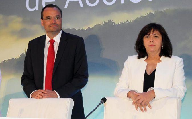 Rosa García, la presidenta de Siemens Gamesa, Markus Tacke, el CEO.