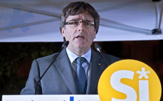 El presidente de la Generalitat, Carles Puigdemont, durante un acto en...
