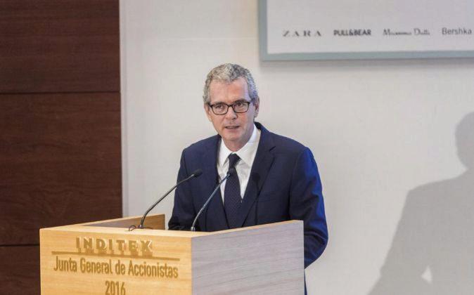 Pablo Isla, presidente de Inditex, durante la pasada junta de...