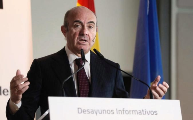 El ministro de Economía, Luis de Guindos, hoy, en Madrid.
