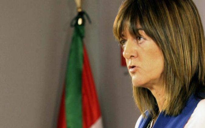 La secretaria general de los socialistas vascos, Idoia Mendia, en una...
