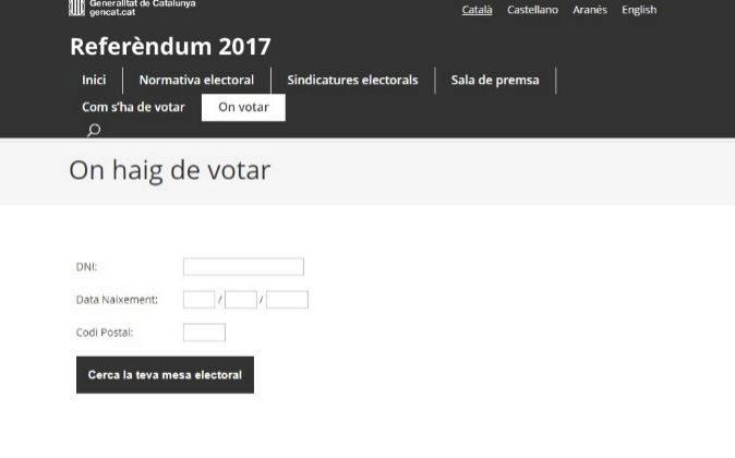 Web con los puntos de votación del 1-O que ha puesto en marcha la...