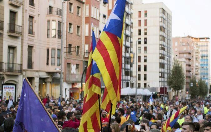 Manifestación en favor del referéndum en Cataluña.