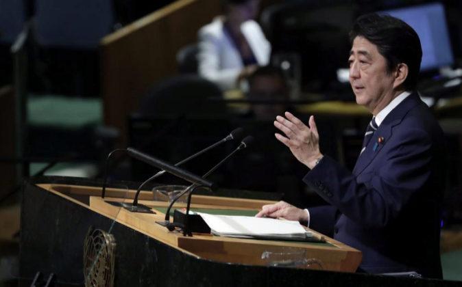 El primer ministro de Japón, Shinzo Abe, en la sede de la ONU en...