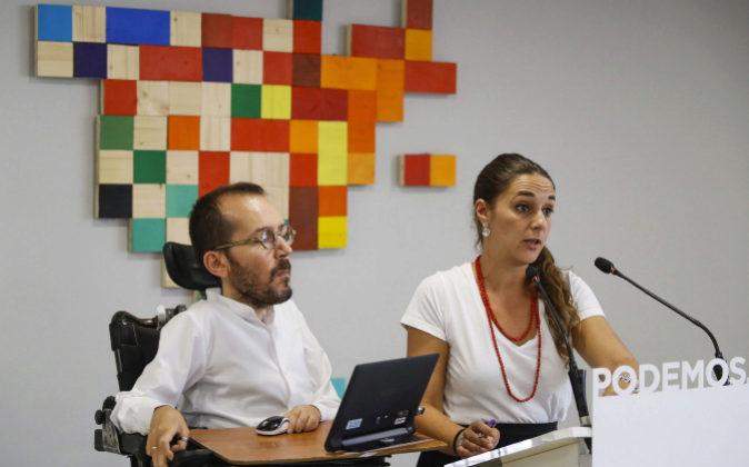 Los coportavoces de Podemos, Pablo Echenique y Noelia Vera.