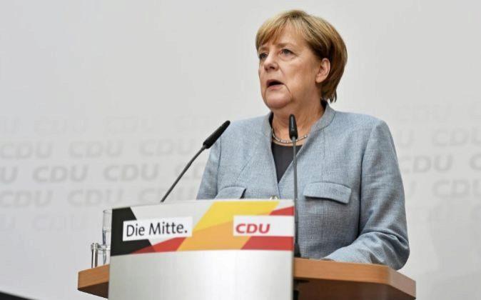 La canciller alemana y líder de la Unión Cristianodemócrata (CDU),...