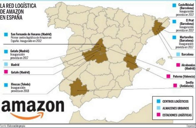Centros logísticos amazon españa