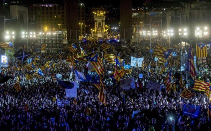 Acto independentista en Montjuic.