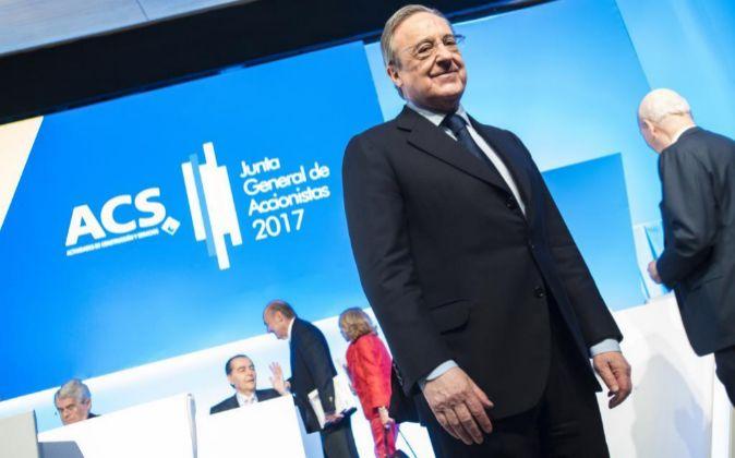 Florentino Pérez en la Junta General de Accionistas de ACS.