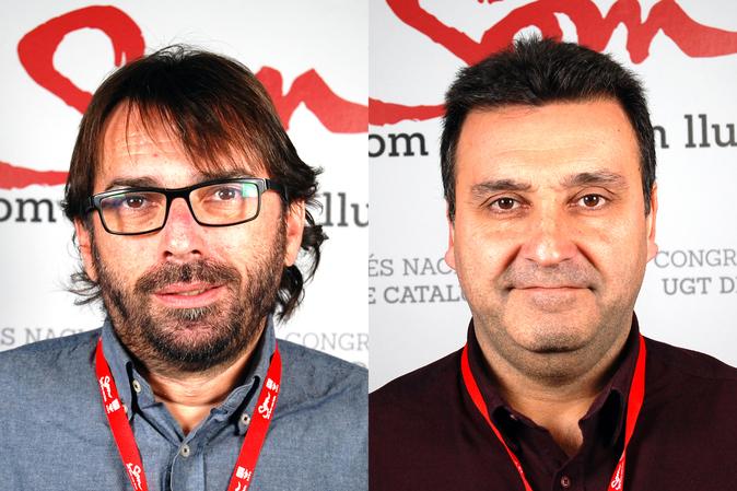 Camil Ros, secretario general de UGT Cataluña y Matías Carnero,...