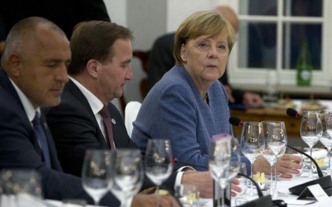 La canciller alemana Angela Merkel en una cena informal el 28 de...