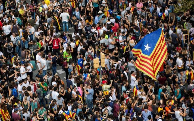 Vista de la Plaza Universidad de Barcelona, durante una manifestación...
