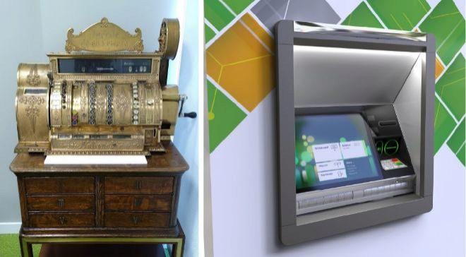 A la izq., el NCR 770, el primer modelo de la multinacional...