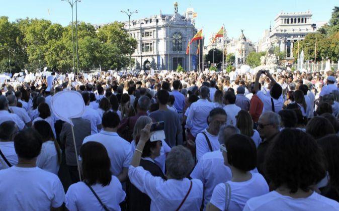 Vista de los participantes en la manifestación convocada por la...