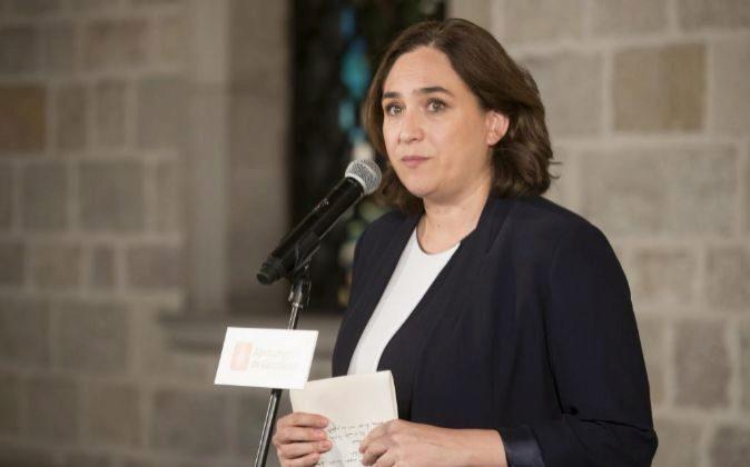 La alcaldesa de Barcelona, Ada Colau, durante la declaración...