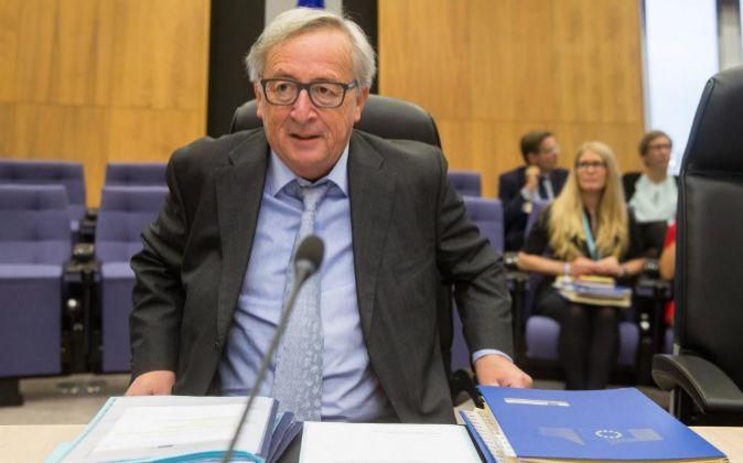 El presidente de la Comisión Europea, Jean Claude Juncker, en la...