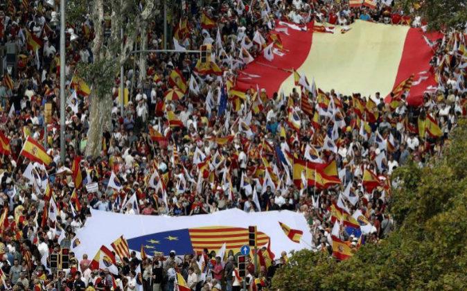 Manifestación a mediodía en Barcelona el pasado 12 de octubre bajo...