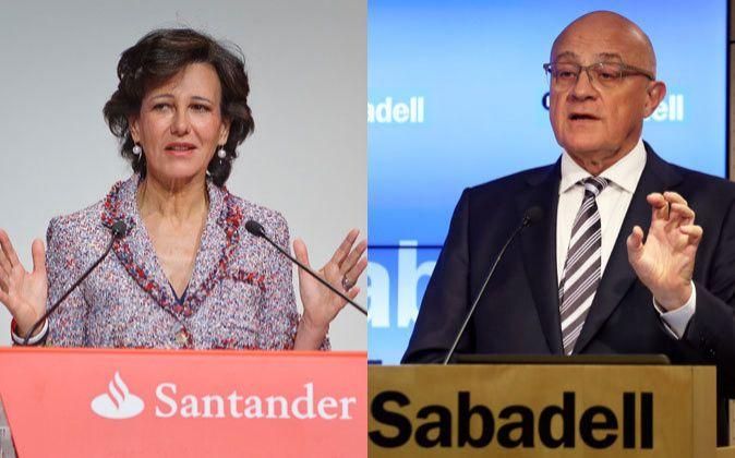 Ana Botín, presidenta de Santander, y José Oliú, presidente de...